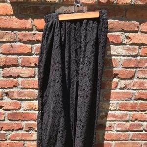 Black lace maxi dress button front with slit